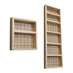 None - Pine Wood 2-piece 54-inch On-the-wall Spice Rack II - This 54-inch On-the-wall Spice Rack II can be mounted on a wall,or the side of a cabinet,and includes a beadboard back panel and clear acrylic dowels in front of each shelf. This two-piece rack offers a natural finish that can be painted or stained.