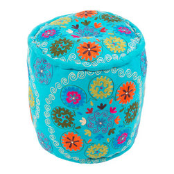 """Jaipur Rugs - Blue/Multi Handmade 100% Cotton Pouf (16""""x16""""x16"""") - The vivid collection of poufs is inspired by motifs and patterns from traditional suzani and ethnic textiles, these bright jewel colored poufs are at home in any global environment."""