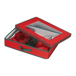 Household Essentials - Holiday Tabletop Storage Chest - Give every aspect of your table setting special care with this cheerful holiday Tabletop Set Chest. Strong and durable, this festively attired red and green box provides safe and sturdy storage for your tablecloths, napkins, placemats, and flatware. The Window Vision top window lets you easily choose exactly which setting you want, so you waste no time searching through the wrong box! Keep your special linens pristine and ready for the holiday season alongside the rest of your holiday collection.