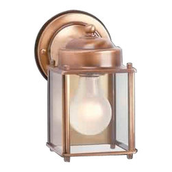 Renovators Supply - Wall Lights Antique Brass Outdoor Wall Light 7 1/2 H x 6 Proj - Outdoor Lights: Our Antiqued Captain Outdoor Light is solidly built & finished in antique brass. Its elegant vintage design is the perfect feature for a patio or entryway.This measures 7 1/2 in. high, projects 6 in. and is 3 3/4 in. square on bottom.