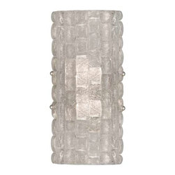 842250ST Sconce Constructivism - Sconce of individually cast Moonlit Mist clear glass pillow-shaped pieces, fused at high temperature in a hand-laid cobblestone pattern. The sole lenses create a fascinating light diffuser & sculptural form. Exposed metal in hand-applied silver leaf.