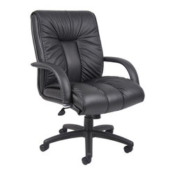 """Boss Chairs - Boss Chairs Boss Italian Leather Mid Back Executive Chair - Italian executive leather chair. Beautifully upholstered with imported Italian top grain Leather. Executive Mid Back styling with extra lumbar support. Pneumatic gas lift seat height adjustment. Adjustable tilt tension control. Upright locking position. Leather upholstered armrests. Large 27"""" nylon base for greater stability. Hooded double wheel casters. Optional knee-tilt mechanism available model (B9307). Matching guest chair model (B9309)."""