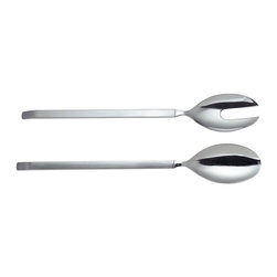 "Alessi - Alessi ""Dry"" Salad Serving Set - Salad set in steel, mirror polished with matte handles."