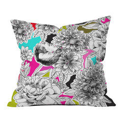 DENY Designs - Mary Beth Freet Couture Home Floral 2 Outdoor Throw Pillow - Do you hear that noise? it's your outdoor area begging for a facelift and what better way to turn up the chic than with our outdoor throw pillow collection? Made from water and mildew proof woven polyester, our indoor/outdoor throw pillow is the perfect way to add some vibrance and character to your boring outdoor furniture while giving the rain a run for its money. Custom printed in the USA for every order.