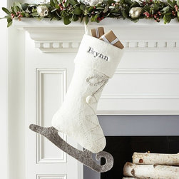 All That Glitters Stocking Collection, Ice Skate - I truly adore this fantastic ice skate stocking from Pottery Barn Kids. They are the perfect stockings for Santa to fill on Christmas night.