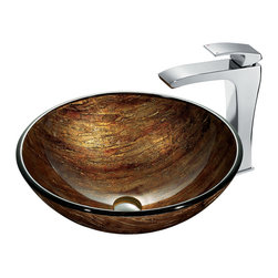 VIGO Industries - VIGO Amber Sunset Glass Vessel Sink and Faucet Set in Chrome - The VIGO Amber Sunset glass vessel sink and faucet set radiates warm tones similar to a glowing sunset.