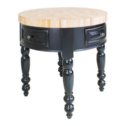 "Distressed Black Round Kitchen Island with Two Drawers - This island features two drawers on one side and two pivot drawers on the opposite side. Drawers feature full extension soft-close slides.  Coordinating decorative hardware is included.  Maple grain butcher block top is 3"" thick."
