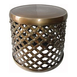 Unique Furniture - Side Tables that WOW! - Glamorous Metal Side Table -- This unique designed side table will add functionality to any room. It features an avant-garde style with a vintage inspired persona. The matte colored crisscross design accented with polished top makes the table a unique statement piece for your home.
