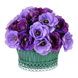 Jane Seymour Botanicals - Poppy Anemone Basket - Add a bright splash of color to any room of your home with this perky poppy anemone basket. The dual purple tones are delightfully complemented by the antique green of the wire mesh basket.
