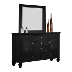 Coaster - Coaster Sandy Beach Dresser and Mirror Set in Black Finish - Coaster - Dressers - 201323201324PKG