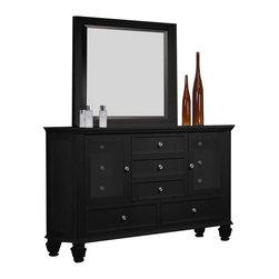 Coaster - Coaster Sandy Beach Dresser and Mirror Set in Black Finish - Coaster - Dressers - 201323201324PKG