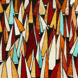 """""""Racing Fleet, Painting"""" - """"A collection of yachts finding their position at the start of a regatta. A red orange, turquoise & cream abstract painting full of colour and texture.  Created to float away from the wall for real contemporary style by adding wooden batens to the reverse of the panel.  A perfect focal point for any contemporary living space or a fantastic gift for a sailor. All of my paintings are finished to a very high standard and are ready for your wall, with no need for framing. """""""