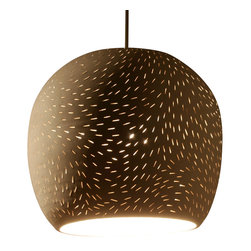 Lightexture - Claylight 8'' Symmetrical Pendant, Line Pattern - Hatched from the mind of artist Sharan Elran, these matte clay fixtures are designed for hard-wiring, and come complete with a ceramic ceiling plate and energy-efficient xenon bulb.