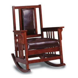 "CST600058 - Dark Oak Finish Wood Rocker Chair With All Leather Padded Seat And Back - Dark oak finish wood rocker chair with all leather padded seat and back, mission style arms.  Measures 29 1/2"" x 35 1/4"" x 39"" H.  Some assembly required."