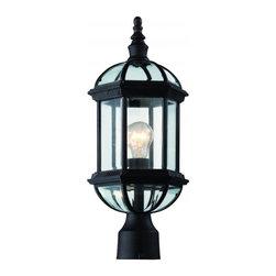 Joshua Marshal - One Light Rust Clear Beveled Hexagon Glass Post Light - One Light Rust Clear Beveled Hexagon Glass Post Light