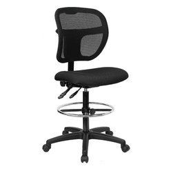 Flash Furniture - Flash Furniture Mid-Back Mesh Drafting Stool in Black - Flash Furniture - Drafting Chairs - WLA7671SYGBKDGG - Drafting Stools can be used in a multitude of environments including School, Work and for the Home. Drafting stools makes it easier for the user when they need or prefer more height to comfortably get in and out of chairs. The breathable mesh back keeps you cool when sitting for long periods of time. The firm, comfortably padded seat will keep you at ease during work or while leisurely browsing. [WL-A7671SYG-BK-D-GG]