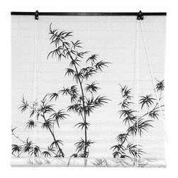 Oriental Furniture - Shoji White Bamboo Tree Roll Up Blind - - Traditional Japanese Sumi-e art design print on practical Shoji paper roll up window blinds.  - Extend up to 6 feet long.  - Shoji paper allows some light to diffuse into the room, while offering privacy inside the room.  - Roll up retractable design, blinds install on the window frame trim, around the window, not fitted to the inside of the window.  - Choose a size larger than the opening of the window to provide full privacy  - Designed to match our Bamboo Tree Shoji Screens  - Made of shoji rice paper  - Easy to hang and operate Oriental Furniture - WT-BAMTREE-W36
