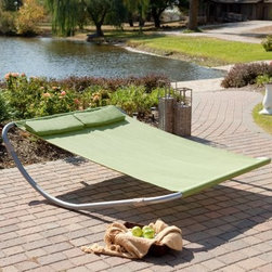 Island Bay Dublin Double Sun Lounger Hammock Bed - Dublin - You can't bring the beach home with you, but with the Island BayDouble Sun Lounger Hammock Bed - Dublin you can have that summer relaxation in your own back yard. This modern approach to the hammock eliminates the need for hanging and at a lightweight 40 pounds, you can easily move it anywhere you like, even to your own imaginary beach. Take your time day dreaming, the soft polyester fabric and the powder coated steel frame won't need much looking after. Perhaps best of all, this cozy cross between insular fantasy and functioning practicality is spacious enough for two people, so you'll never have to stare at clouds alone, unless you want to. With a weight capacity of 550 pounds, you could probably squeeze the whole family onto this rocking beauty for afternoons of sky-gazing, Swiss Family Hammock-son style. Bed dimensions: 82L x 69W x 20H inches.About Island Bay Island Bay brings you well-designed, authentic hammocks and accessories from around the world. From the East Coast to the West Indies, the hammock is recognized as the ultimate getaway, so we've dedicated ourselves to getting it right. You'll find eye-catching colors and patterns, comfortable outdoor designs, and heavy-duty stands designed to keep you swinging peacefully. It's your world ... relax in the real thing.