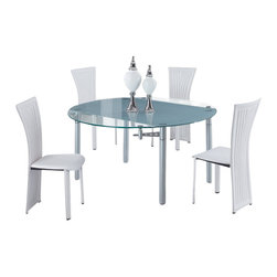 """Global Furniture USA - D135DT + D1513DC-WH Glass & White Leatherette Five Piece Dining Set - The D135DT + D1513DC dining set will be just the right fit for your dining space. Clear glass makes up the table top and features a frosted strip down the middle. The sides of the table fold out to extend the table to a 59"""" round table. This modern dining chair is finished in a white leatherette. The silver Finish legs and trim compliment the cut out designs of the chair back. The dining set includes the dining table and four chairs only."""