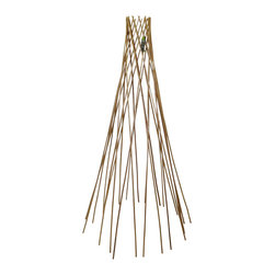 """Master Garden Products - Classic Peeled Willow Round Teepee Trellis, 72""""H - Assist your plant with this classic willow teepee flower support. Used by amateur and professional growers alike, this device supports plant stems during growth to help plants reach new heights. The beautiful round teepee design offers flexibility for use with climbing plants or flowers. This lightweight support endures the elements with its strong, durable construction. Comes fully assembled and ready to use. Constructed with carbonized peeled willow sticks, they are light mahogany in color, we offer it in  and 6 feet high. We recommend putting a coat of linseed oil or outdoor sealer to preserve peeled skin willow product outside."""