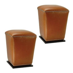 Safavieh - Mason Ottoman (Set Of 2) - Saddle - The Mason ottoman marries form and function with sturdy construction, elegant tapered silhouette and chic nailhead trim. Sold in pairs, this pretty and practical set is crafted of saddle-tan bicast leather with plinth bases of beech wood in sleek black finish. Dining chair height and perfect for extra seating in any room, they look great tucked under a console to be whisked out when guests arrive.