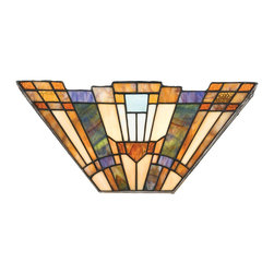 Quoizel - Quoizel TFIK8802 Inglenook Traditional Tiffany Wall Sconce - A classic geometric Arts & Crafts piece with handcrafted art glass in shades of sapphire blue, warm honey, amber and cream.