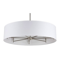 Lights Up - Walker 7-Arm Drum Chandelier (White Linen) - Fabric: White Linen. Bulbs not included. Requires seven 40 watt bulbs. Fabric shade. 36 in. adjustable stem. Wired for permanent mounting. Brushed nickel frame. Voltage: 120 volts. Shade: 36 in. Dia. x 7 in. H. Overall: 36 in. Dia. x 36 in. H