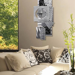 """Reunited"" - Abstract Metal Wall Clock by Jon Allen - A Jon Allen Fine Metal Abstract Wall Clock"