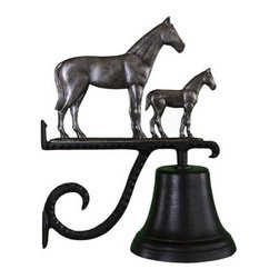 Cast Bell with Swedish Iron Mare & Colt Ornament - A proud momma horse and her sweet little colt on the Cast Bell with Swedish Iron Mare & Colt Ornament have a distinctive iron finish. A fun way to call the kids in for dinner, this wall-mounted bell crafted of strong aluminum, includes the scrolled mounting bracket, and has a baked-on black enamel finish that makes it great indoors or out.