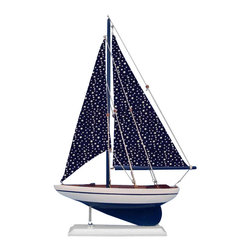Handcrafted Nautical Decor - Star Sailer 17'' - NOT A MODEL SHIP KIT   --Attach Sails and this Sailboat Centerpiece is Ready for Immediate Display ---- --Brighten  your day, or any room of your home, with   this delightfully fun  Pacific Sailboat model. Perfect nautical Decor gifts for friends,    children, or party guests, they also make excellent nautical decorations  or sailboat centerpieces for a reception or group event. Liven your  office, beach   house, or sunroom with one of these colorful sailboat  models today! --------    Handcrafted solid wood hull, masts and stand with metal supports--    Timeless nautical colors - Navy blue and white--    Largest sailboat selection available - We offer over 150 unique model sailboats --    Featured in Sept 2011 Brides magazine - Excellent wedding table centerpiece--    --    Perfect nautical gift for friends, children or party guests--    --    Ideal for banquets, receptions, meetings, or any other nautical party or event ---- Contact us for quantity discounts---- --This model sailboat requires minor assembly. Simply insert mast into hull and clip on the sails. --There is no rigging to tie or tighten. Assembly takes less than 2 minutes.