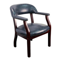 Flash Furniture - Traditional Conference Chair in Vinyl Upholstery w Riveted Accents - Ideal for any traditional office setting, this attractive captain's style chair is completely versatile.  Upholstered in a durable classic navy blue vinyl, it also features stylish nailhead trim for a sophisticated look.  Use it as a desk, conference, or guest chair in the office, or even as an attractive dining chair. The contoured arms and legs have a rich dark mahogany finish, and the back and seat is thickly padded for ultimate comfort.  What an amazing price for such a fantastic chair. Traditional reception chair or conference chair is perfect for any elegant situation. Painstakingly crafted and upholstered in Navy Vinyl. Captain's chair styling. Individual brass nail head trim. Contoured back. Extremely well padded seat. Solid hardwood Mahogany finished frame. Meets and/or exceeds all ANSI/BIFMA standards. :Seat: 22 in. W x 21 in. D. Back: 24 in. W x 12½ in. H. Seat Height: 18½ in. H. Arm Height: 24 in. H. Overall: 30 in. H x 24 in. W x 25 in. D