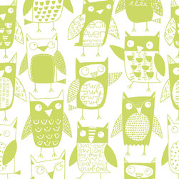 "Loboloup - Owls, Apple Green, Sample - Loboloup wallpaper is hand-screened locally in the USA, and printed with eco-friendly, water-based inks on clay-coated paper. Our paper is vinyl-free and class A fire rated. Samples are approximately 9"" x 11"". Once hung, wallpaper can be gently wiped clean."
