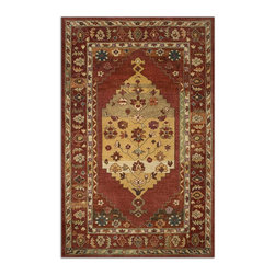 Uttermost - Uttermost Estelle 8 x 10 Rug - Red 73056-8 - Cut Wool In Dark Red With Hints Of Taupe, Beige, Charcoal, Green And Lavender Details.