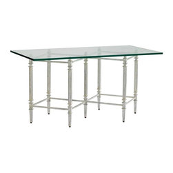 Stanley Furniture - Preserve-Gardiner Cocktail Table - Open and airy, a glass top showcases the Gardiner Cocktail Table design's hand-applied, antiqued Salted Silver Leaf finish.
