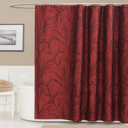 Triangle Home Fashions - Flower Texture Shower Curtain in Red - Use the flower texture red shower curtain to create a calm, warm environment for your bathroom. It features a beautifully woven jacquard pattern.