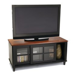 Convenience Concepts - Convenience Concepts French Country TV Cabinet w/ Shelf and Sliding Doors X-6812 - Classic Lines and an attractive two tone finish make French Country the elegant choice. The 6042186 French Country TV entertainment center will fit any d&#233:cor.