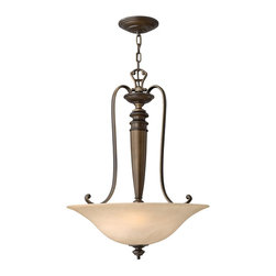 Hinkley Lighting - Hinkley Lighting 4594RY Dunhill Traditional Inverted Foyer Light - Dunhill's traditional style features painted antique candle sleeves and sturdy round detailing in a Royal Bronze finish. The off-white pleated fabric shades and vintage-inspired faux alabaster glass add classic details for an authentic look.
