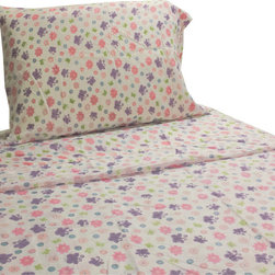 Cathgro - Flowers Butterflies Twin Sheet Set Garden Bedding - FEATURES: