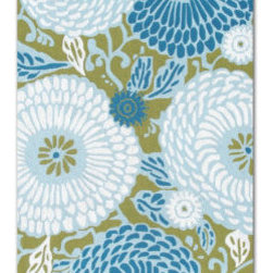 Grandin Road - Dandelion Outdoor Rug - 5' x 8' - Hand-hooked construction. Polypropylene and acrylic fibers shrug off elements. UV stabilized to resist fading. In green/blue/white. Outdoor/indoor versatility. The Dandelion Outdoor Rug immortalizes the wild flower child of spring in barefoot soft yarns. The rug's soothing palette is hand-hooked of advanced fibers that remain colorfast in the open air.  .  .  .  .  . Hoses clean . Imported.