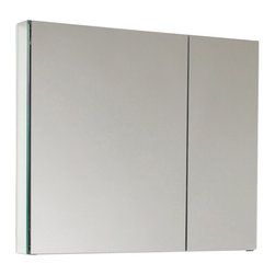"Fresca - Medium Bathroom Medicine Cabinet w Mirrors - Recessed Mounting Option. Product Material: Glass. Finish: Mirror. 2 Glass Shelves. 2 Mirrored Doors. 29.5 in. W x 26 in. H x 5 in. DThis 30"" medicine cabinet features mirrors everywhere. The edges have mirrors and also on the interior of the medicine cabinet. The inside features two tempered glass shelves. Can be wall mounted or recessed into the wall."
