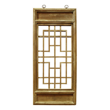 China Furniture and Arts - Window Panel Shutter (2) - Once used as a window shutter in a traditional village house in Zhe Jiang Province, China, some panels are as old as 60-80  years old. Our hand carved hardwood window panel will no doubt supply its own special intrigue, whatever surface it decorates. Sizes are approximate. Metal hangers included.