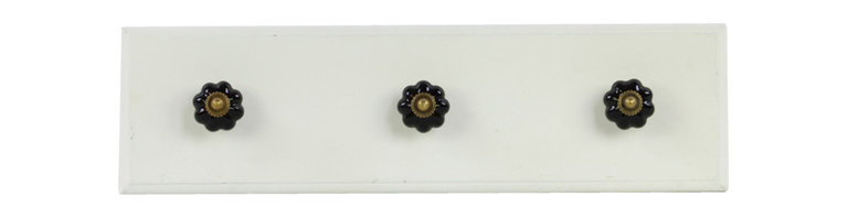 Wooden Rectangular Coat Hanger 3 Black Knobs - Small - White - *Wooden Rectangular Coat Hanger with 3 Black Ceramic Knobs SM White