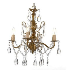 The Gallery - Wrought Iron Crystal chandelier 4 Lights - This beautiful chandelier has 4 lights and is decorated and draped with 100% crystal that captures and reflects the light of the candle bulbs. The frame is Wrought Iron, adding the finishing touch to a wonderful fixture Specification: Finish: Gold Material: wrought iron and Crystalssembly Required: Yes Care Instructions: This item must be hardwired. Required: Requires (4) 25 watt candelabra bulbs ( not included )