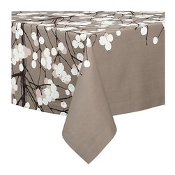 "Marimekko® Lumimarja 60""x90"" Tablecloth - Add some Finnish abstract botanical style to your table with this gorgeous sateen tablecloth by Marimekko."