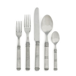 Isabella 5-Piece Place Setting - Few things bring more traditional emphasis to your table than traditional solid-handled flatware, and this place setting of Italian pewter discreetly announces your taste for the authentic and real over the faddish. A transitional design which suits the cleanly-appointed decor scheme or the stylishly historic traditional home, the Isabella Placesetting tells every guest or family member who uses it that their mealtime pleasure is of paramount importance.