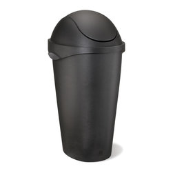 Umbra - Swinger 12-Gallon Swing-Top Waste Can, Black by Umbra - Form meets function with the Swinger swing-top waste can by Umbra. Constructed of durable yet lightweight polypropylene. Stylish brushed-metal look. Lid hides can liner. Non-slip feet. 12-gallon capacity.