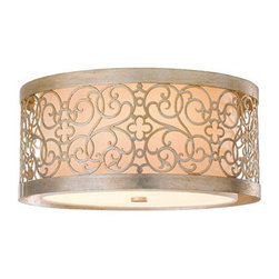 Mariah Ceiling Mount - Tiny quatrefoils and pretty scrollwork make this lamp beautifully feminine. I can see it in a dressing room or girl's bedroom.