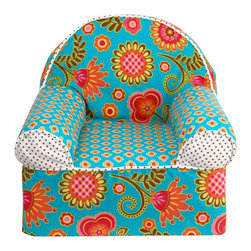 Cotton Tale Designs - Gypsy Chair - Gypsy Baby's 1st Chair is a light weight foam chair covered in bright, fun fabrics. The chairs are coordinated to match crib bedding from the Cotton Tale line. These little chairs are great fun for baby and a special addition for the nursery, measuring 16 x 18 x 17. Cotton cover has a zipper and is machine washable in cold water, delicate cycle. Hang to dry. Perfect for your little girl.