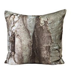 """Kuchi Kuu - Brooklyn Woodland Collection Artisan Pillow, 24"""" x 24"""" - Eco-friendly, artisan pillow covers are created from photographic images found in nature that are applied to organic cotton twill using water-based inks.  Pillow inserts are a 10/90 combination of down and feathers.  The pillow covers can be hand washed in cold water or dry cleaned."""