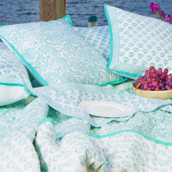 Attiser - Aqua Green Bedding - Seaside savvy quilt from Attiser -feature our (Bel) stylized vine motif on one side, and our (booti) stylized bud on the other. Hand Block Printed from Attiser